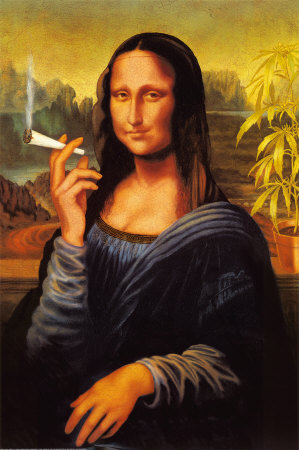 Mona Lisa smoking a marijuana weed blunt joint poster art