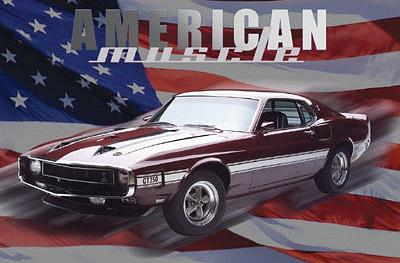Mustang GT 350 (American Muscle, Huge) Art Poster Print Prints