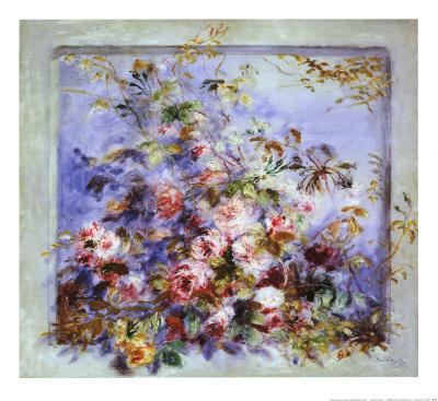 Roses dans une Fenetre Art by Pierre-Auguste Renoir