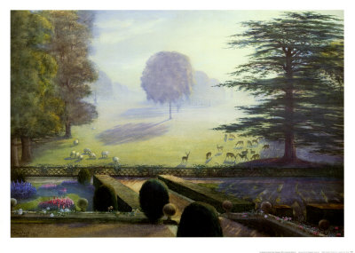 The Garden at Escrick Hall Print by Constance Wenlock