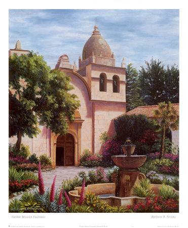 Carmel Mission Fountain Prints by Barbara R. Felisky
