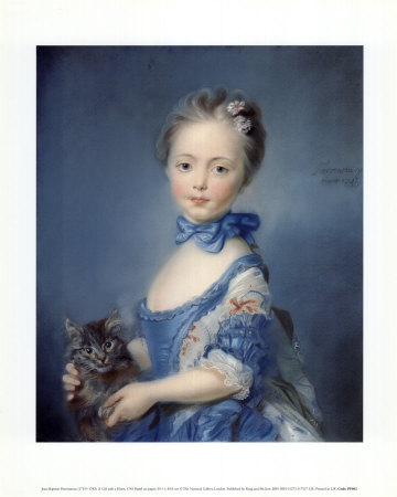 A Girl with a Kitten Art Print