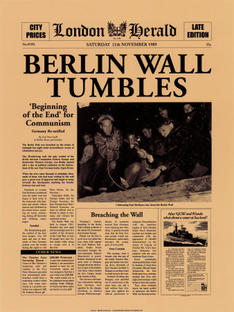 Berlin Wall Tumbles Prints by  The Vintage Collection
