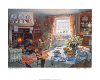 Hora del té del domingo Lámina