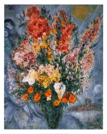 天に捧げる花束 高品質プリント : マルク・シャガール