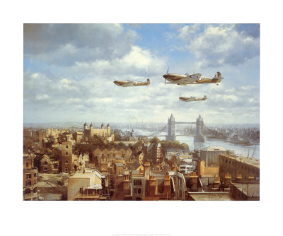 Spitfires Over London Poster by J. Young