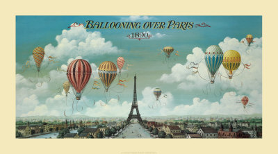 Vol en ballon au-dessus de Paris Reproduction d'art