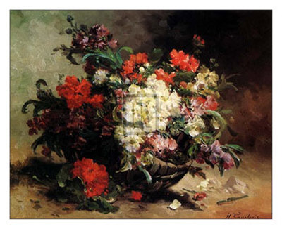 Basket of Flowers Poster by Eugene Henri Cauchois