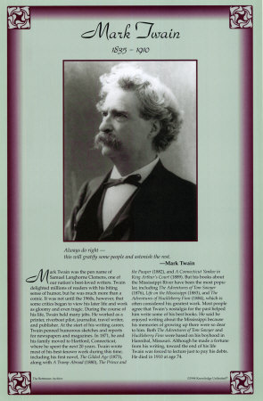 American Authors of the 19th Century - Mark Twain Lámina