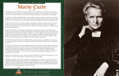 Women of Science - Marie Curie Posters