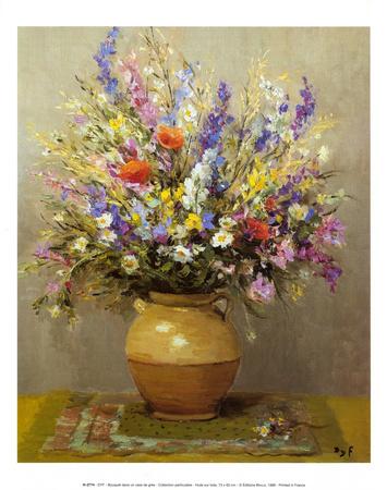 Bouquet dans un vase de gres Prints by Marcel Dyf