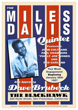 Miles Davis Quintet at the Blackhawk, San Francisco, California, 1957 Posters by Dennis Loren