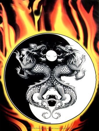Dragons - Burning Yin Yang Prints at AllPosters.com