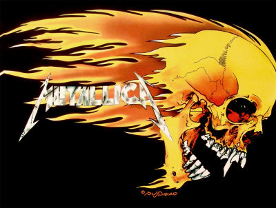 Metallica - Skull and Flames Fabric Poster