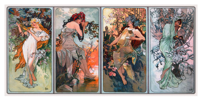 Four Seasons Prints, Alphonse Mucha