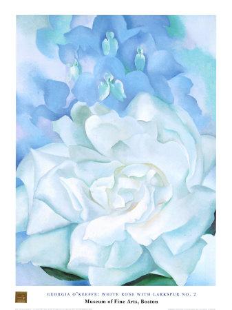 White Rose W/ Lakspur No.2 Affischer av Georgia O'Keeffe