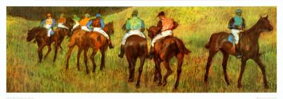 Racehorses in a Landscape (detail) Print by Edgar Degas