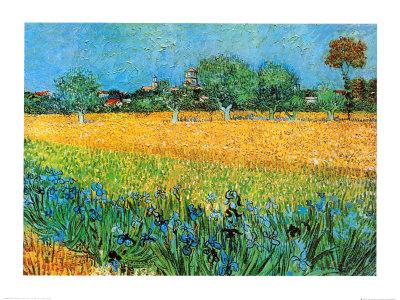 Udsigt over Arles med iriser  Kunsttryk