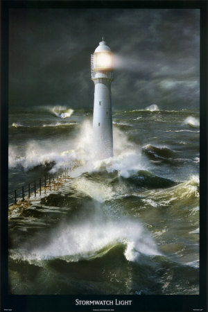 Lighthouse and Stormy Sea Poster