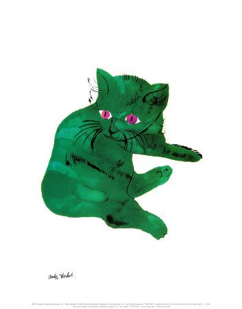 Zelená kočka (Green Cat, cca1956) Umělecká reprodukce