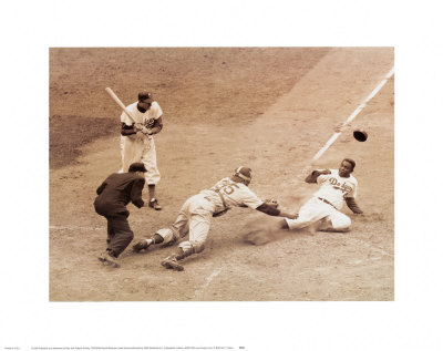 Jackie Robinson marque pour son quipe,18 mai 1952 Reproduction d'art