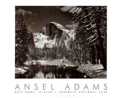 Le Demi Dôme, Merced River, Yosemite en Hiver, photo par Ansel Adams
