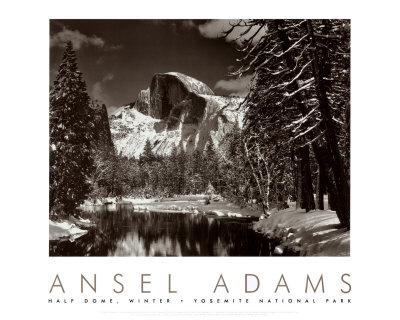 Halvkupol, floden Merced på vintern (Adams)|Half Dome, Merced River, Winter (Adams) Posters av Ansel Adams