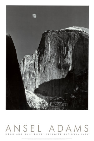 Moon and Half Dome, Yosemite National Park, 1960 Posters by Ansel Adams