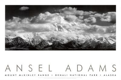 Mount McKinley mountain range in Denali Alaska black and white photo by Ansel Adams