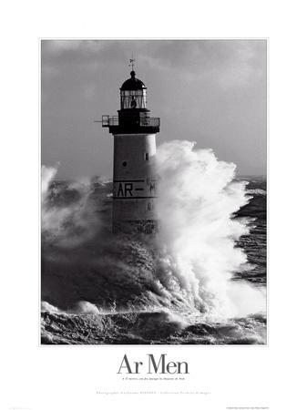 Faro batido por las olas Pósters