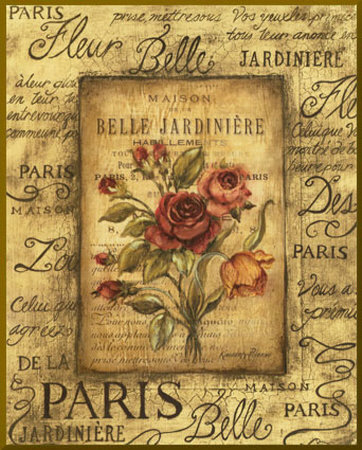 Bel Bouquet I - mini - Gold Trim Mounted Print by Kimberly Poloson
