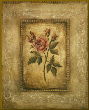 Savin Rose - mini - Gold Trim Mounted Print by Kimberly Poloson
