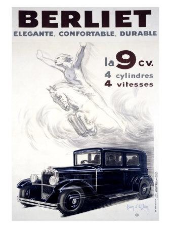 Auto Berliet, La 9CV Giclee Print by Jean D' Ylen