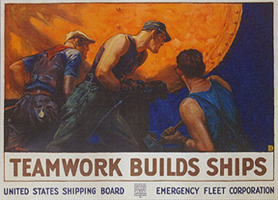 Teamwork Builds Ships Print