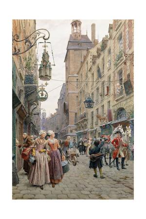 The Busy Street, 1898 Giclee Print by Maurice Leloir