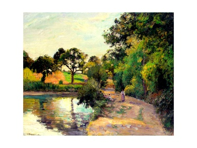 A Pond at Montfoucault, 1874 Giclee Print by Camille Pissarro
