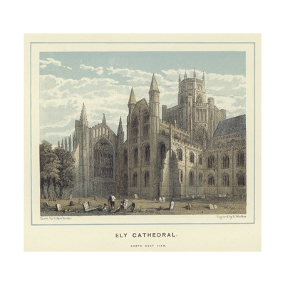 Ely Cathedral, North West View Giclee Print by Hablot Knight Browne