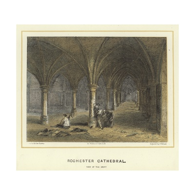 Rochester Cathedral, View of the Crypt Giclee Print by Hablot Knight Browne