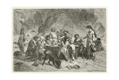 Un Repas a L'Epoque Du Bronze Giclee Print by Emile Antoine Bayard