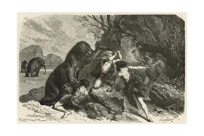 L'Homme a L'Epoque Du Grand Ours Et Du Mammouth Giclee Print by Emile Antoine Bayard