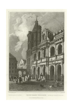 Town Hall Cologne Giclee Print by William Tombleson