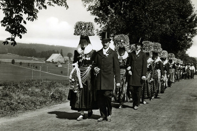 Wedding Procession in the Schwarzwald, Germany Photographic Print by  German photographer