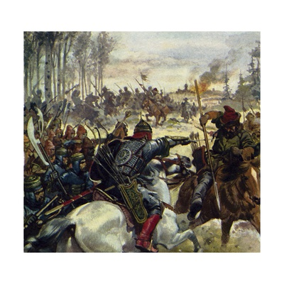 Genghis Khan Led His Army into the Middle East Giclee Print by Alberto Salinas