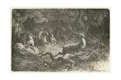 La Chasse a L'Epoque Du Bronze Giclee Print by Emile Antoine Bayard
