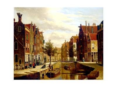 A Dutch Canal Giclee Print by Willem Koekkoek