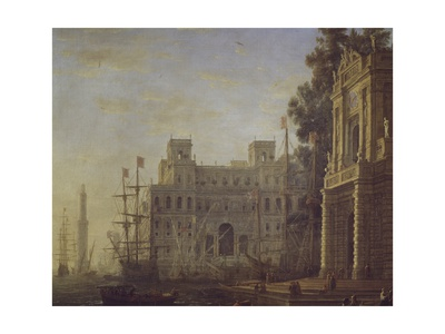 Seaport with Villa Medici Giclee Print by Claude Lorrain