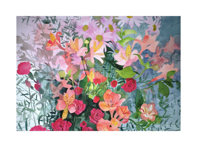 A Pink Bouquet Giclee Print by Claire Spencer