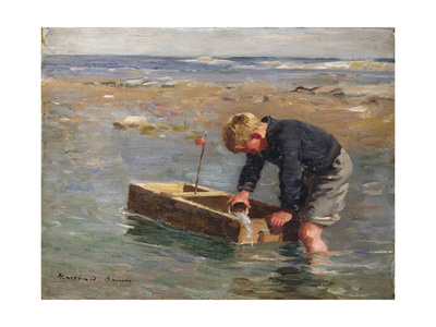 Bailing Out the Boat Giclee Print by William Marshall Brown