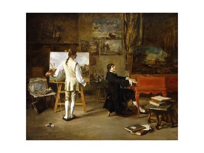 Pergolese in the Studio of Joseph Vernet, 1880 Giclee Print by Lucien Alphonse Gros