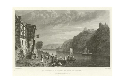 Bornhofen and Ruins of the Brothers Giclee Print by William Tombleson